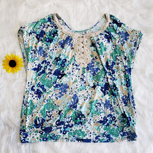 Lane Bryant Short Sleeve Embroidered Floral TShirt